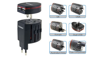 Tenergy World Travel Universal Power Adapter With Dual Port Usb Ac Charger