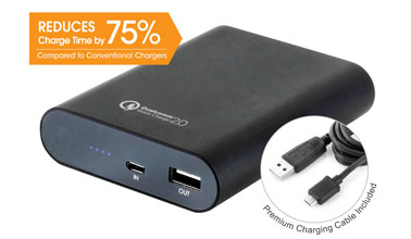 ... classic style 7fc56 40e27 Tenergy 10400mAh Adaptive Fast Charging Power  Bank Featuring the Qualcomm® Quick ... 00a6a04f9e0c